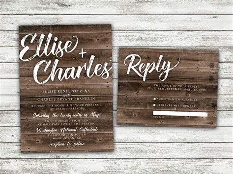 rustic country wedding invitations set printed cheap etsy