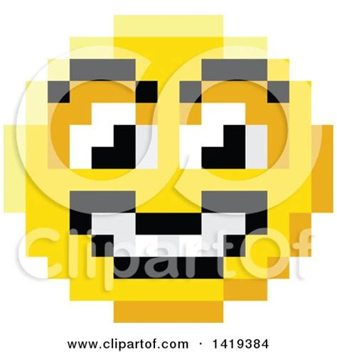 clipart of a grinning 8 bit video game style emoji smiley
