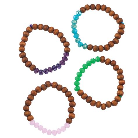 bead happy bead happy faceted glass and wood bracelet
