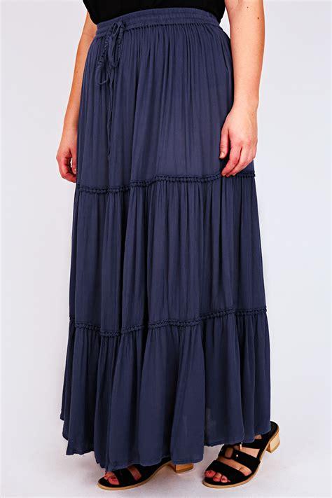 denim blue maxi skirt with crochet detail plus size