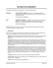 distribution agreement template amp sample form biztree com