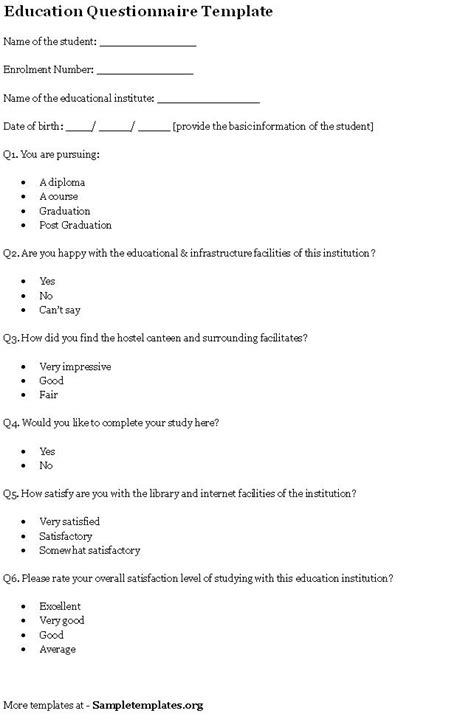 questionnaire template for education sle of education
