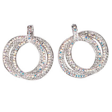 Earrings Curved Swarovski Ab Silver Rhodium swarovski black friday deal circle hoops earrings ab and white