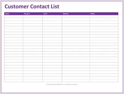 customer list template customer contact list template 5 best contact lists