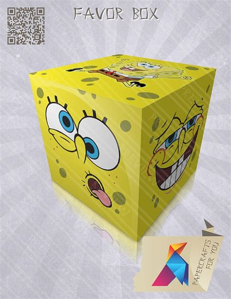 spongebob box sponge bob favor box gift box box diy by