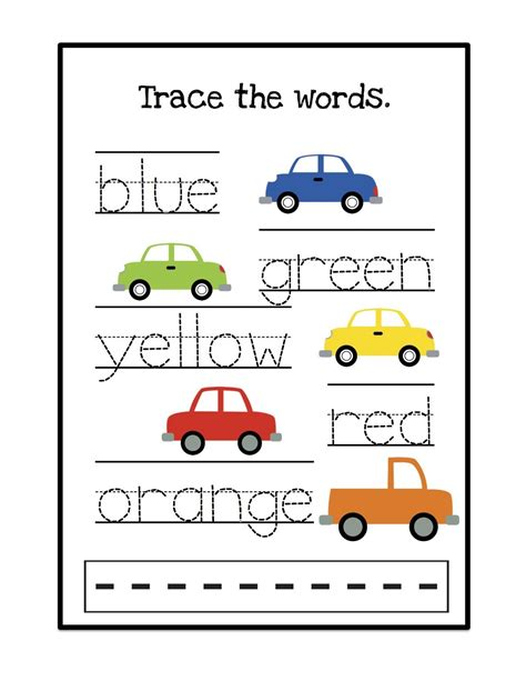 printable tracing color words cars trace the words jpg 1 236 215 1 600 pixels colors