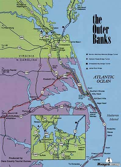 obx map directions to hatteras island midgett realty