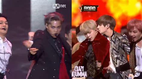 bts vs exo bts vs exo dance battle mama 2016 youtube