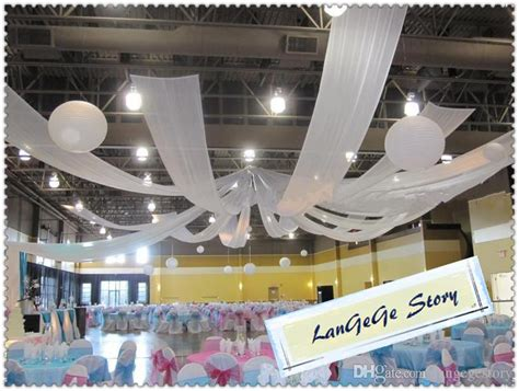 cmmice silk ceiling fabric canopy drapery white