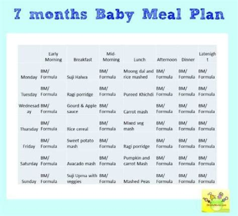 diet chart for 7 month old indian baby girl archives