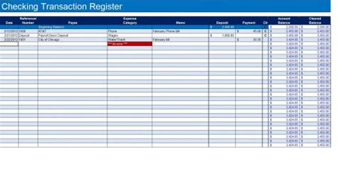 How To Create A Checkbook Register In Excel Turbofuture Checkbook Log Template