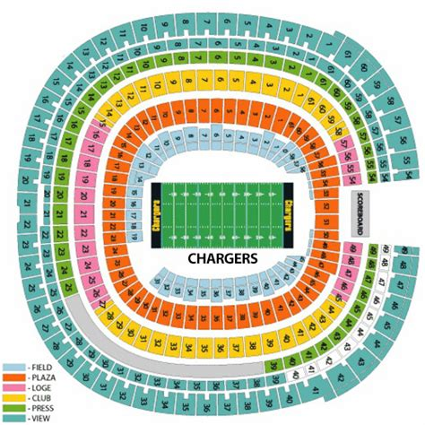 charger tickets chargers seating chart chargers seating map