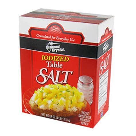 is table salt iodized iodized table salt 4 lb box