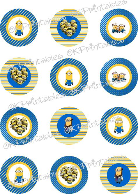 printable stickers minions minions despicable me cupcake toppers printable minion