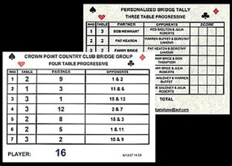 two table progressive tally progressive euchre two table tally card print of 4 table