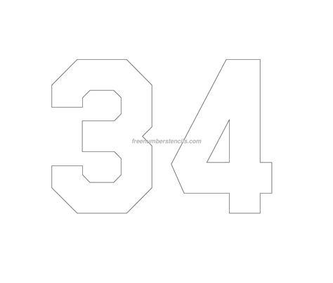 printable jersey number stencils free jersey printable 34 number stencil