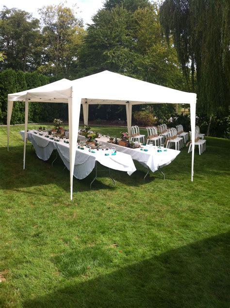tent set up for small backyard wedding