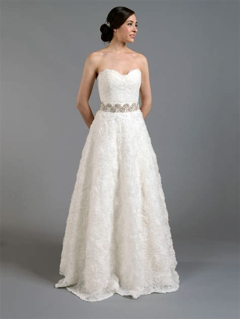Ivory Wedding Dresses by Ivory Strapless Lace Wedding Dress With Rosette Skirt