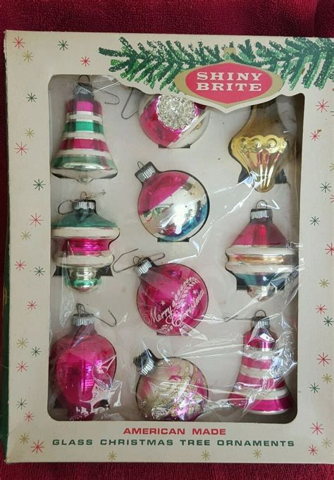 shiny bright christmas ideas vintage tree glass pink shiny brite ornaments original box gorgeous vintage