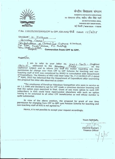 Permission Letter Of Kvs conversion from cpf to gpf scheme for teaching and non