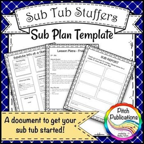 sub plan template sub tub stuffers sub plan template substitute