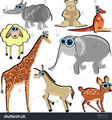 cadena alimenticia jirafa family funny cartoon animals which eat stock illustration