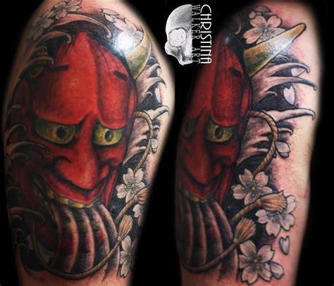 hannya arm tattoo red hannya half sleeve by christina walker tattoos