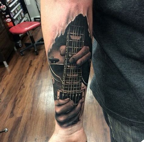 Cover Up Gitar Black realistic guitar by kyle cotterman tattoomagz