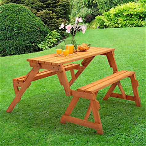 wooden outdoor table with bench seats wooden folding bench picnic garden seat table 2 in 1
