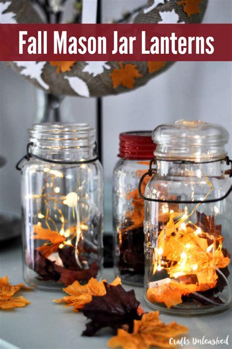 diy fall decor mason jar lanterns crafts unleashed