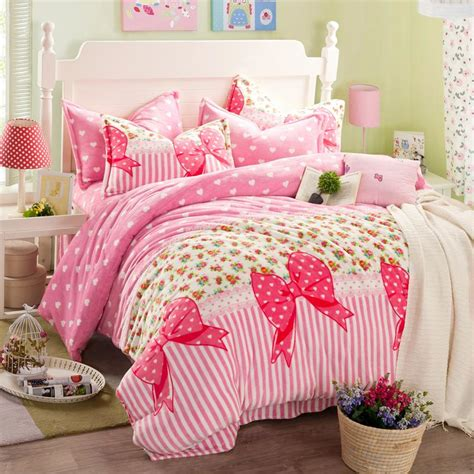 pink twin bed set princess bowknot duvet cover bed sheets sets flannel girls