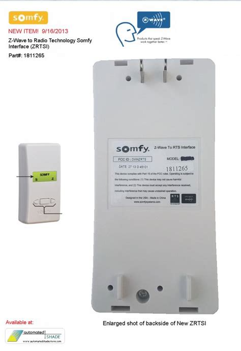 somfy z wave to rts interface 1811265 new zrtsi