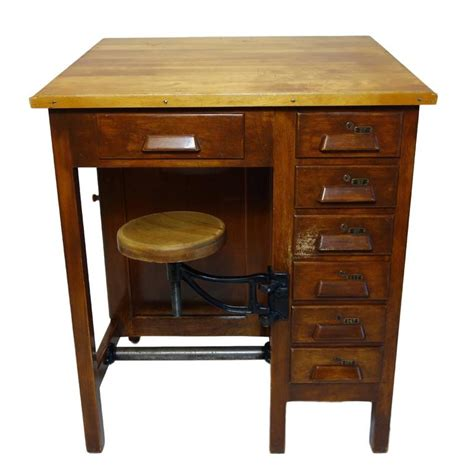 industrial drafting table industrial drafting table with articulating stool at 1stdibs