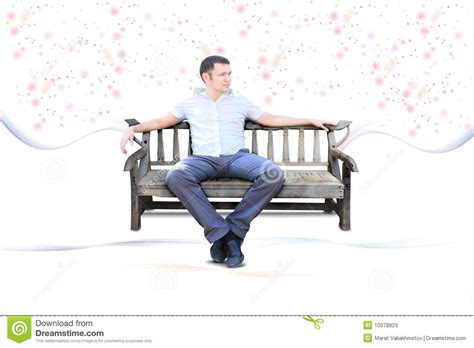 guy sitting on bench guy sit on park bench isolated stock photos image 10078923