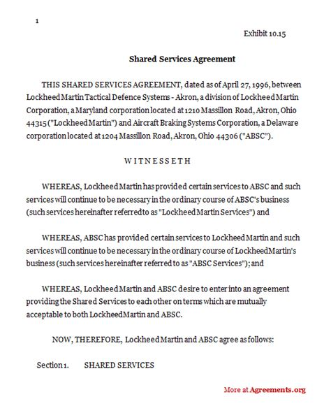 shared service agreement template shared services agreement sle shared services