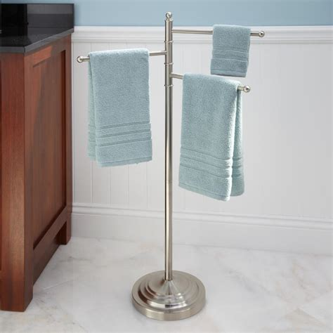 free standing towel stands for bathrooms collinsdale free standing swing arm towel stand brushed