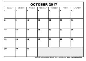 october 2017 calendar