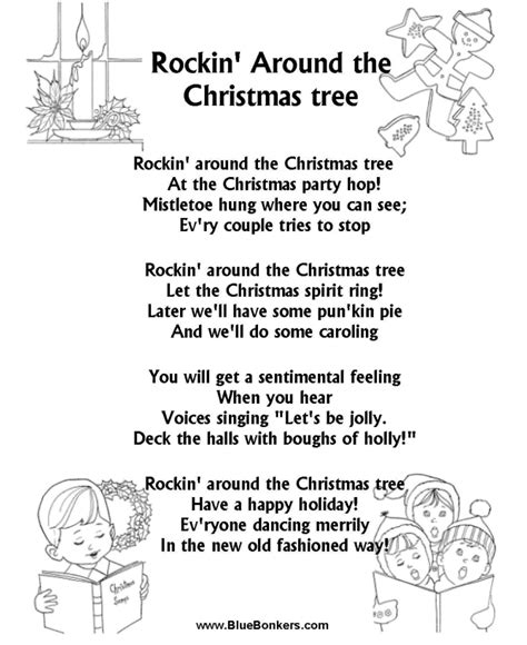 artists who sang rocking around the christmas tree bluebonkers rockin around the tree free printable carol lyrics sheets