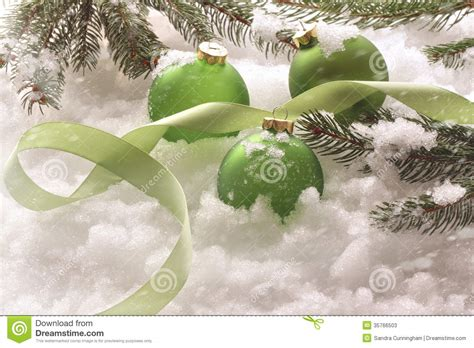 Times Promotes Green Holidays by Green Balls In Snow Stock Photos Image 35766503