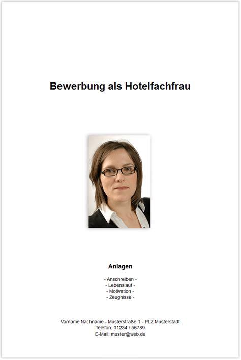 Bewerbungsmappe Hotelfachfrau Bewerbungsdeckblatt Hotelfachfrau Hotelfachmann