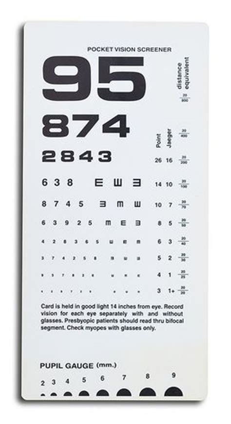 free printable rosenbaum eye chart close uo of near vision card test on white background