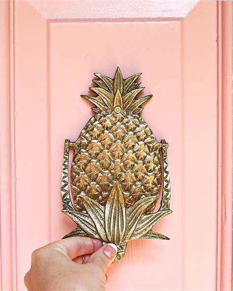 pineapple door knocker color pink and brass summer thornton design