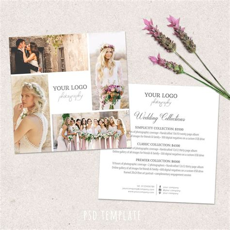 photography flyer templates photoshop wedding photography price list template marketing advertising template pricing guide fully