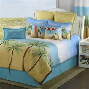 Blue And Brown Comforter Sets Queen Palm Coast Bedding Collections Coastal Surfing Tropical