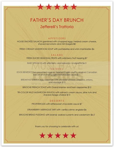 fathers day brunch 2018 s day brunch menu page 1