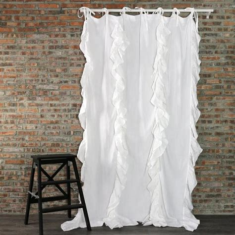 linen ruffle curtain flax linen window treatment and coverings linenshed