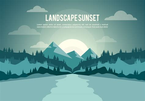 Landscape Illustration Free Landscape Sunset Illustration Vector Background