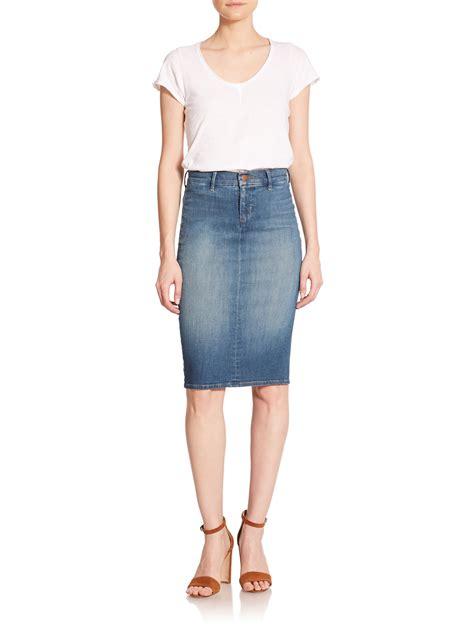 j brand willa denim pencil skirt in blue lyst