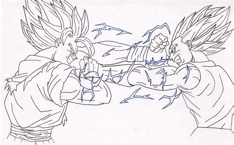 goku vs majin vegeta coloring pages coloring pages