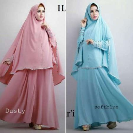 Polky Set Maxi Setelan Muslim Wanita Setelan Outer Polkadot Longvest baju gamis hanifah syari a137 busana muslim modis